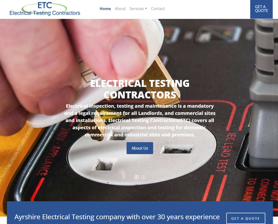 Electrical Testing Contractors - Website Design Ayrshire