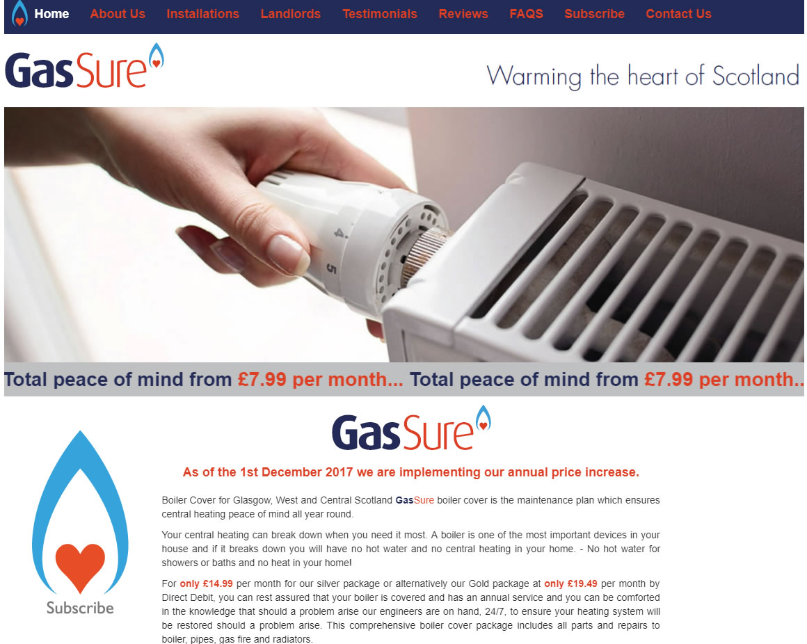 Gas Sure - Website Design Ayrshire