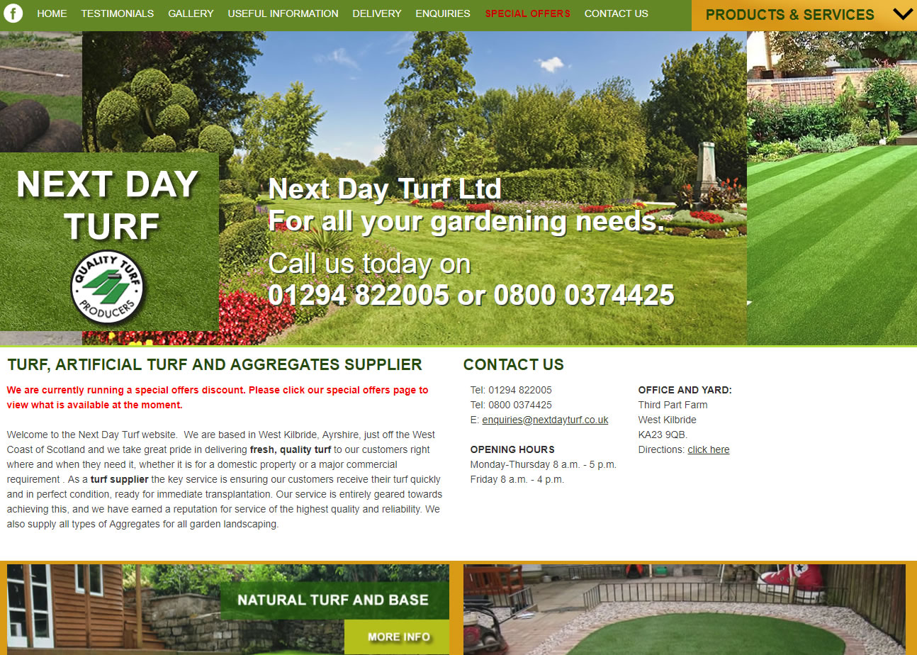 Next Day Turf - Website Design Ayrshire