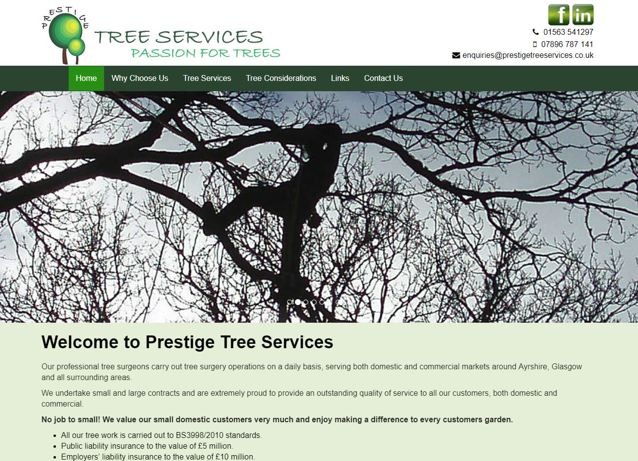Prestige Tree & Landscaping Services - Website Design Ayrshire